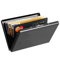Карманная мужская визитница для пластиковых карт из металла черного цвета