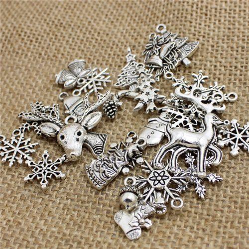 Новогодние серебряные подвески 60 шт.