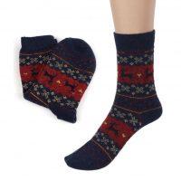 Новогодние шерстяные теплые мужские и женские носки с оленями