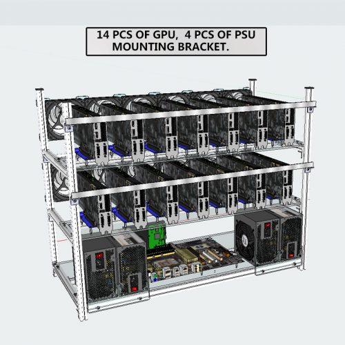 Модульный каркас для майнинговой фермы на 14 видеокарт с вытяжкой воздуха