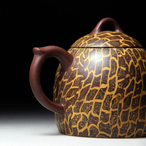 Керамический китайский чайник из исинской глины с ручной росписью + 3 чашки