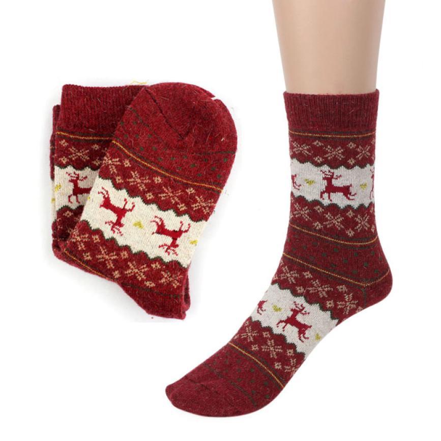 7c920e244265 Новогодние шерстяные теплые мужские и женские носки с оленями