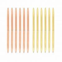 Металлические шариковые ручки 0,7 мм 6 шт. в наборе (золото, розовое золото)