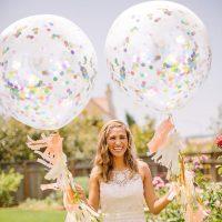 Прозрачные латексные воздушные шары 12″ с разноцветными конфетти внутри 5 шт.в наборе