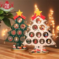 Плоская деревянная настольная новогодняя елка с подставкой и игрушками (украшениями)