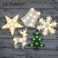 Новогодний светодиодный 3D ночник лампа (снежинка, елка, звездочка, олень, колокольчик)