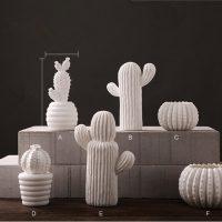 Керамический белый кактус для декора, украшения интерьера