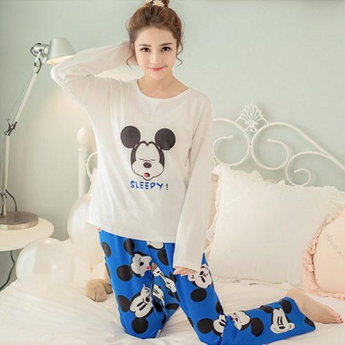 Ночная женская пижама с брюками и длинным рукавом, с рисунками и надписями