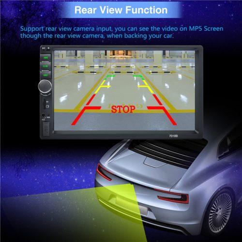 """Geartronics Автомобильная сенсорная Bluetooth FM магнитола с дистанционным управлением, ЖК экраном 7"""" и поддержкой камеры заднего вида"""
