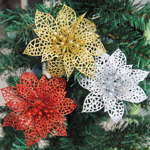 Новогоднее елочное украшение Блестящие пластиковые цветы 15 см/10 шт.