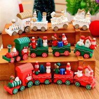 Новогодний деревянный паровозик игрушка для детей