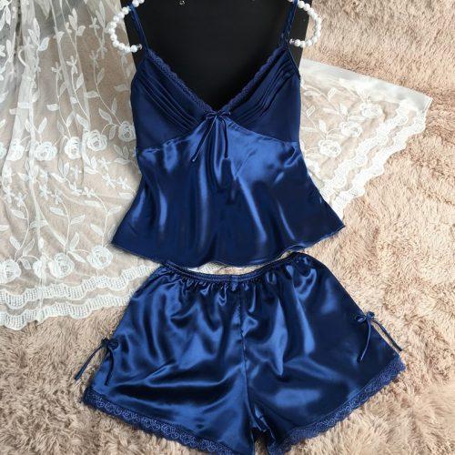 Ночная атласная шелковая пижама-сорочка (шорты и майка) с кружевом и V-образным вырезом (есть большие размеры)