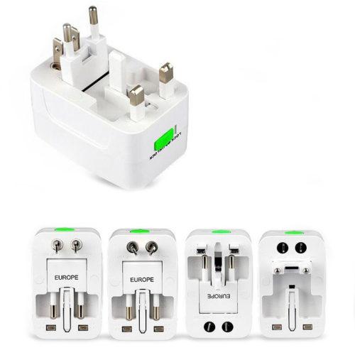 Туристический универсальный сетевой переходник адаптер с USB для розеток