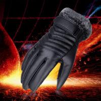 Зимние мужские теплые перчатки из искусственной кожи с мехом внутри (подходят для работы с сенсорным экраном)
