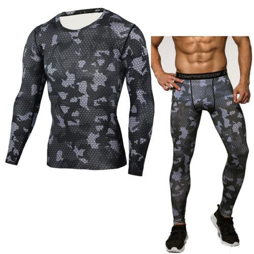Мужской спортивный компрессионный костюм для фитнеса (легинсы + футболка с длинным рукавом)
