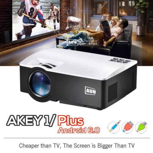 AUN AKEY1 Цифровой светодиодный проектор для домашнего кинотеатра 1800 люмен HDMI Full HD 1080 P