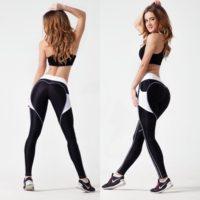 Спортивные черные женские легинсы с карманами для фитнеса, тренировок