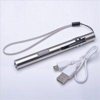 Карманный светодиодный LED фонарик ручной водонепроницаемый с зарядкой от USB с металлическим зажимом