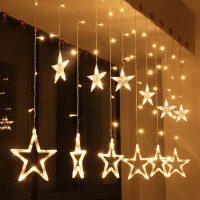 Рождественская гирлянда штора со звездами EU 220V
