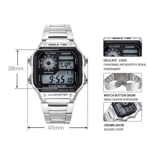 CASIO Мужские наручные водонепроницаемые кварцевые металлические часы