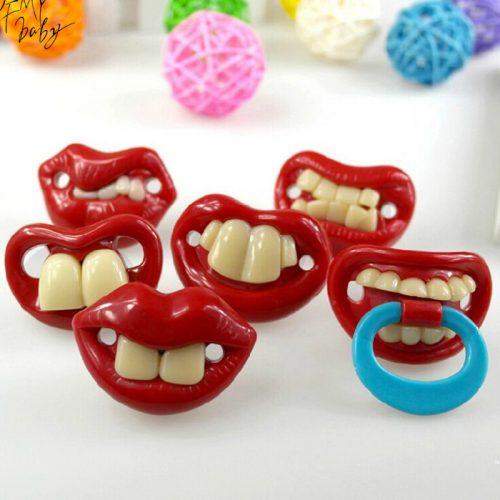Силиконовая смешная детская соска пустышка с усами и зубами