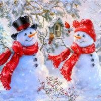 Алмазная мозаика вышивка картина стразами Снеговики (полная выкладка) 20×25/30×40/40×50/50×65 см