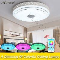 Потолочный светодиодный светильник с Bluetooth-динамиком и возможность выбора цвета свечения, управляемый со смартфона