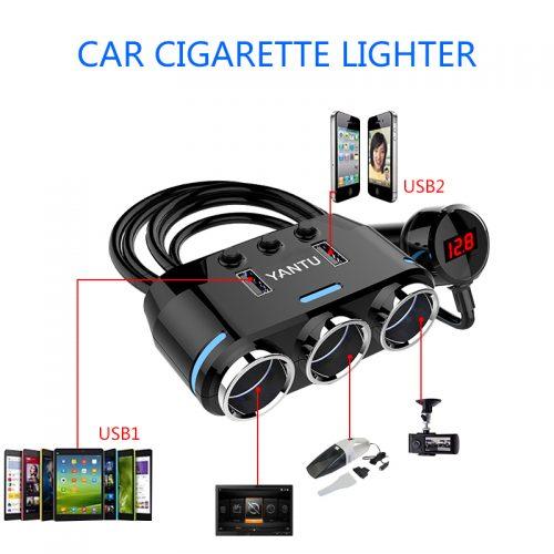 Разветвитель для автомобильного прикуривателя с двумя портами USB и тремя гнездами