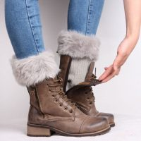 Женские теплые гетры с мехом для обуви