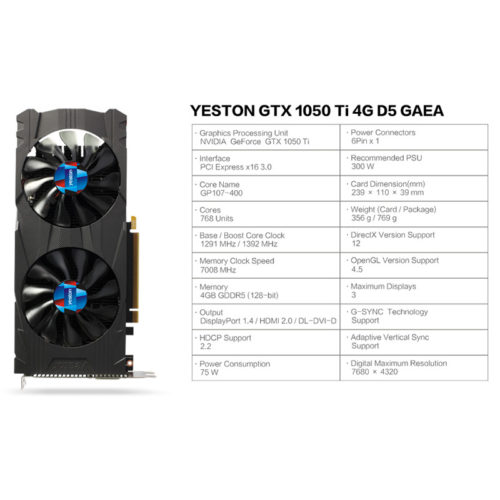 Видеокарта Yeston GeForce GTX 1050Ti 4GB GDDR5 128 bit