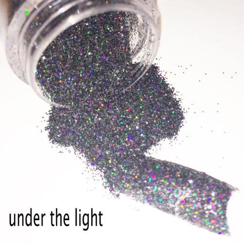 Черные голографические блестки для дизайна ногтей 0.2 мм