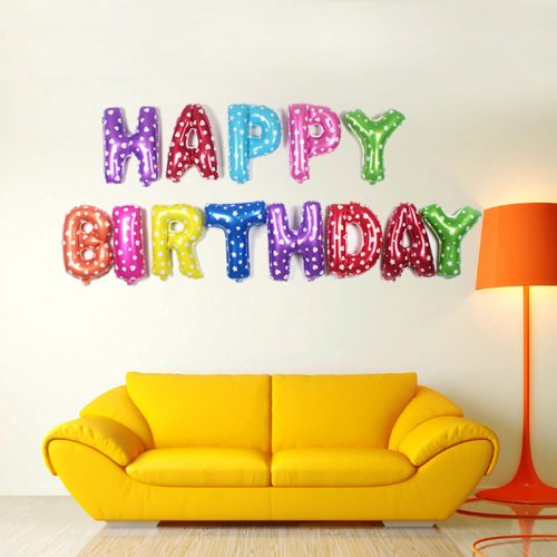 Фольгированные праздничные воздушные шары на день рождения или новый год (Happy Birthday, Merry Christmas)
