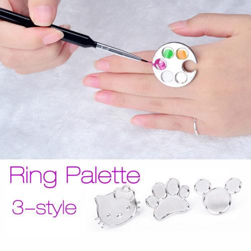 Металическое кольцо-палитра на палец для лака