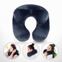 Дорожная надувная подушка под шею для путешествий в самолет