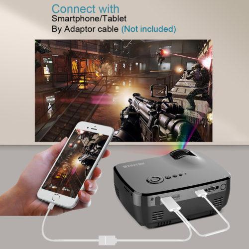 BYINTEK GP70 Цифровой портативный светодиодный проектор для домашнего кинотеатра 1800 люмен HD USB HDMI ЖК-дисплей