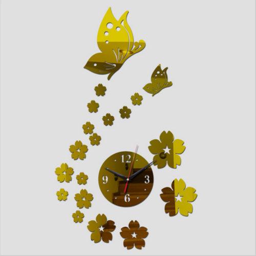 Интерьерные настенные кварцевые зеркальные часы наклейки с цветами и бабочками