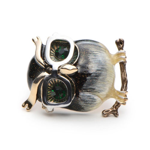 Металлическая брошь с застежкой Сова в очках