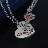 Парные цепочки ожерелья с подвесками для влюбленных