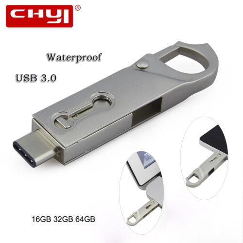 Водонепроницаемая флешка USB флеш-накопитель с двумя разъемами (OTG type C и USB 3.0) с карабином 16/32/64 ГБ
