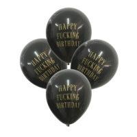 Черные воздушные шары 12 шт. и гирлянда с надписью Happy fucking birthday