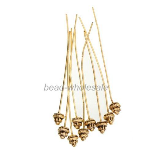 Пины для фиксации бусин при создании браслетов, колец, цепочек, колье, серег с бусинами с различными декоративными элементами