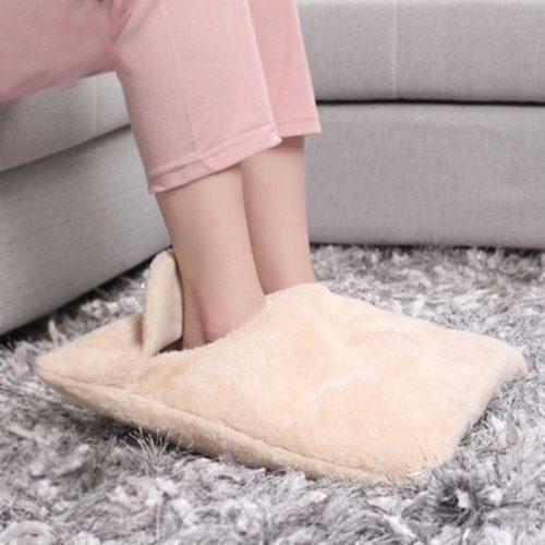 Электрическая пушистая грелка подушка для ног