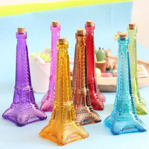 Стеклянная бутылка Эйфелева башня с пробкой