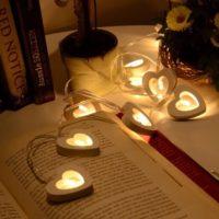 Светодиодная гирлянда на батарейках с лампочками сердечками