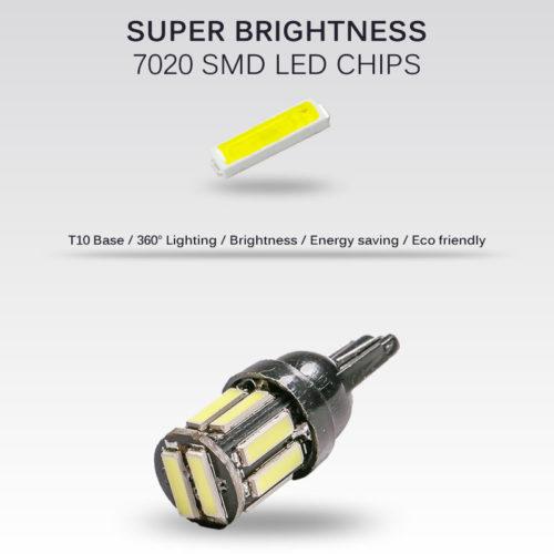 Светодиодные габаритные огни 4 шт. T10 W5W 10-7020 smd