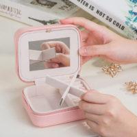 Мини шкатулка органайзер с зеркалом для украшений