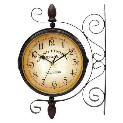 Настенные винтажные кварцевые вокзальные уличные двусторонние ретро часы