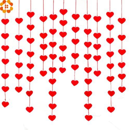 Романтическая красная DIY гирлянда занавес с сердечками