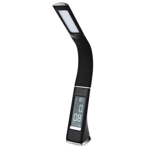 Настольная светодиодная лампа светильник с термометром, календарем, часами и будильником, тремя уровнями яркости
