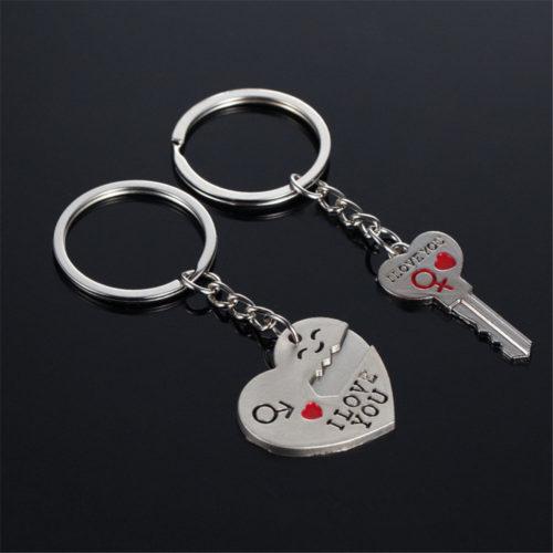 Парные брелоки для влюбленных (ключ и сердце) с надписями I love you